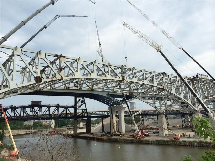 The new bridge, consisting of one span in each direction, is a major ODOT project to help people access and exit Cleveland's downtown in a more efficient manner.