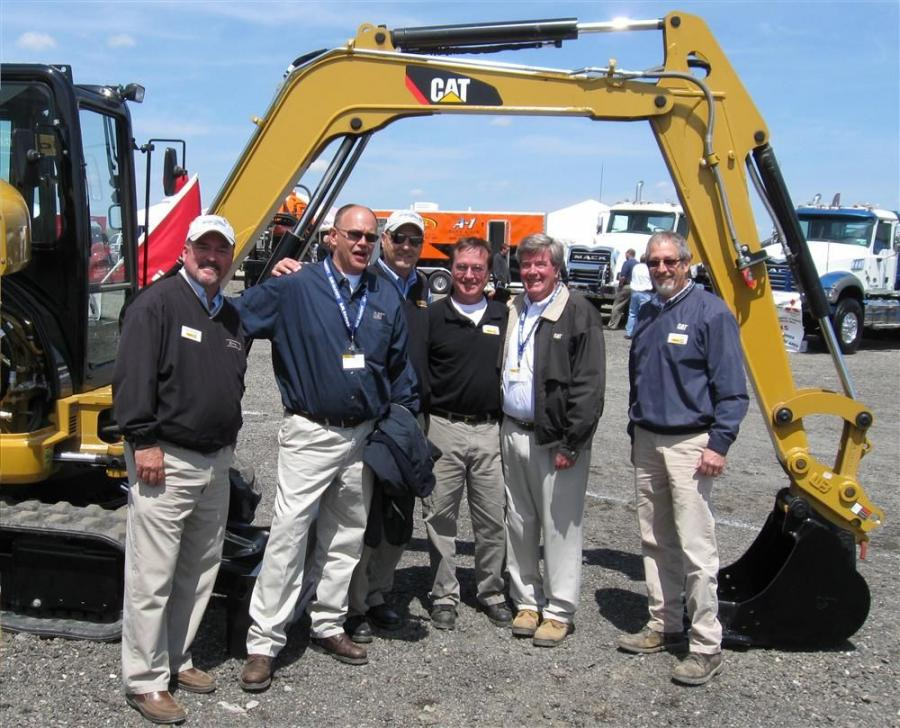 (L-R): Ohio CAT's Alan Rhodes, Rich Egnot, Bill Kuhar, Tom Seefried, Jim Harris, and Chuck Voorhees are eager to discuss Caterpillar equipment.