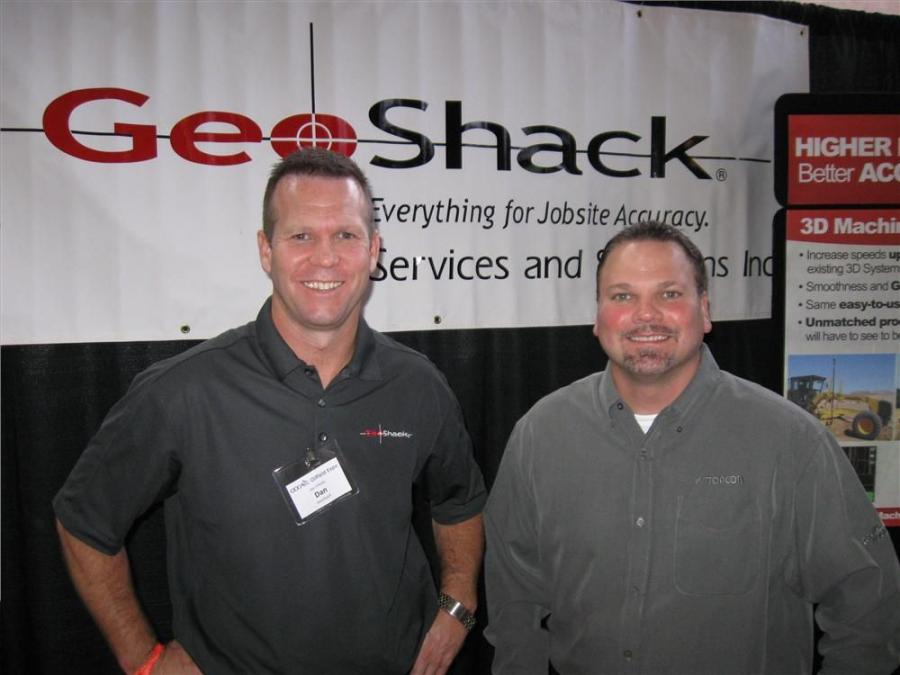 GeoShack's Dan O'Reilly (L) and Greg Koly were on hand to discuss laser and GPS technologies in gas well and pipeline development.