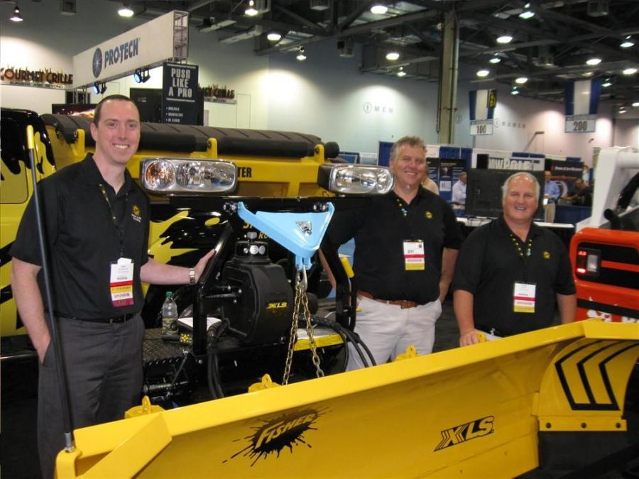 (L-R): Fisher Snowplows's Andy McArdle, Jeff Lessard and Norm Klimko had plenty of snow and ice removal equipment for attendees to see at the show.