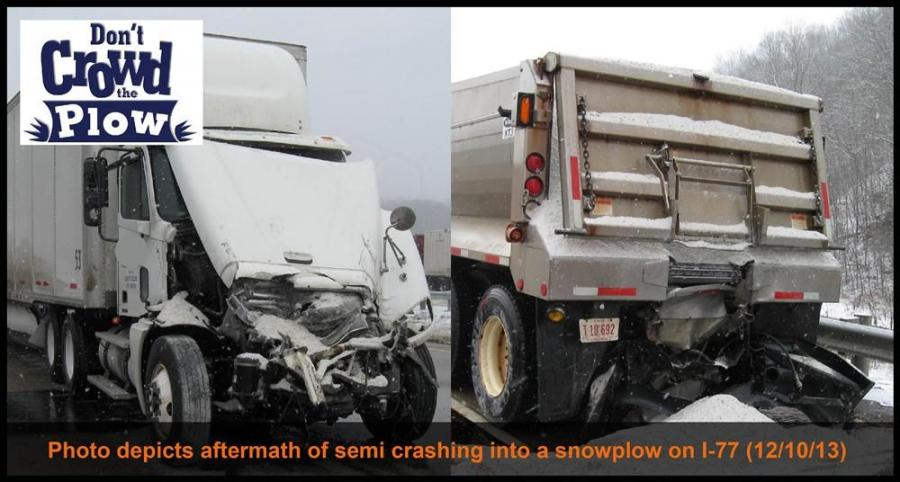 Photo depicts the aftermath of a semi crashing into a snowplow on I-77 on Dec. 10.
