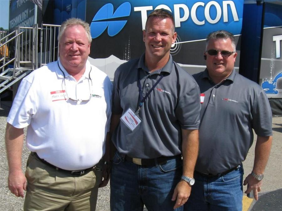 (L-R): Murphy Tractor's Mark Hash joins GeoShack's Dan O'Reilly and David Owen to greet attendees.