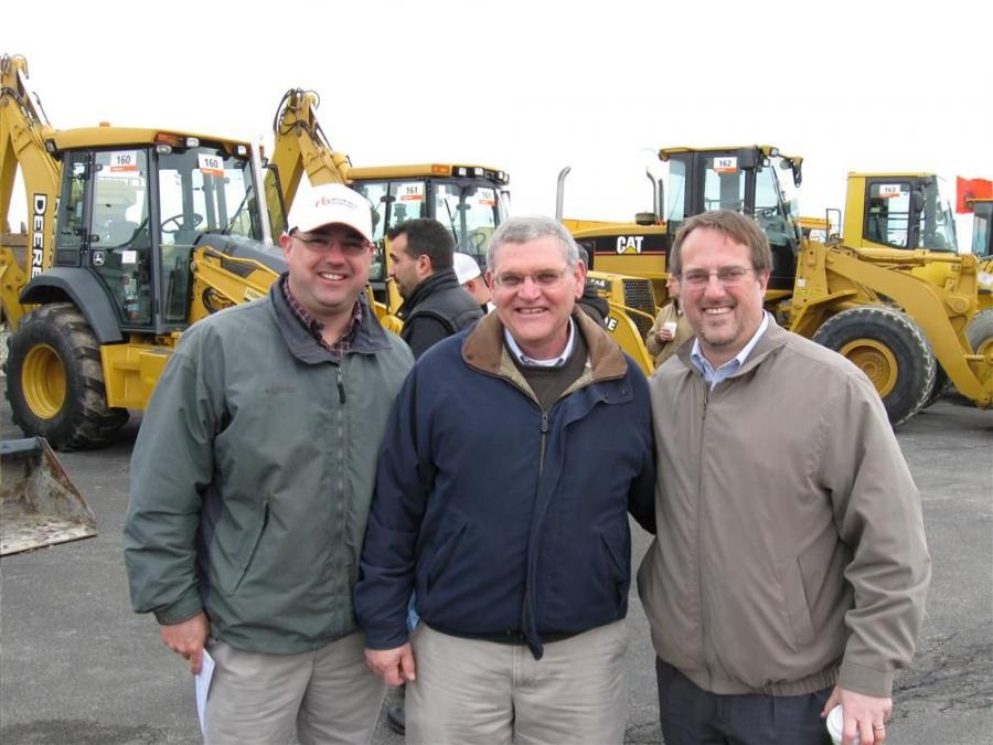 (L-R): Ohio CAT's Buyer/Remarketer Chad Schultz, Used Equipment Manager Skip Stewart, and President Ken Taylor stop by to visit with area contractors.
