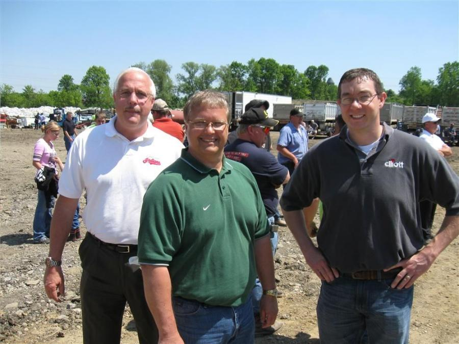 (L-R): Elliott Machine Works' Keith Johnson, Dennie McCray and Jeran Pollock made the trip over from Galion, Ohio, to take in the auction activities.