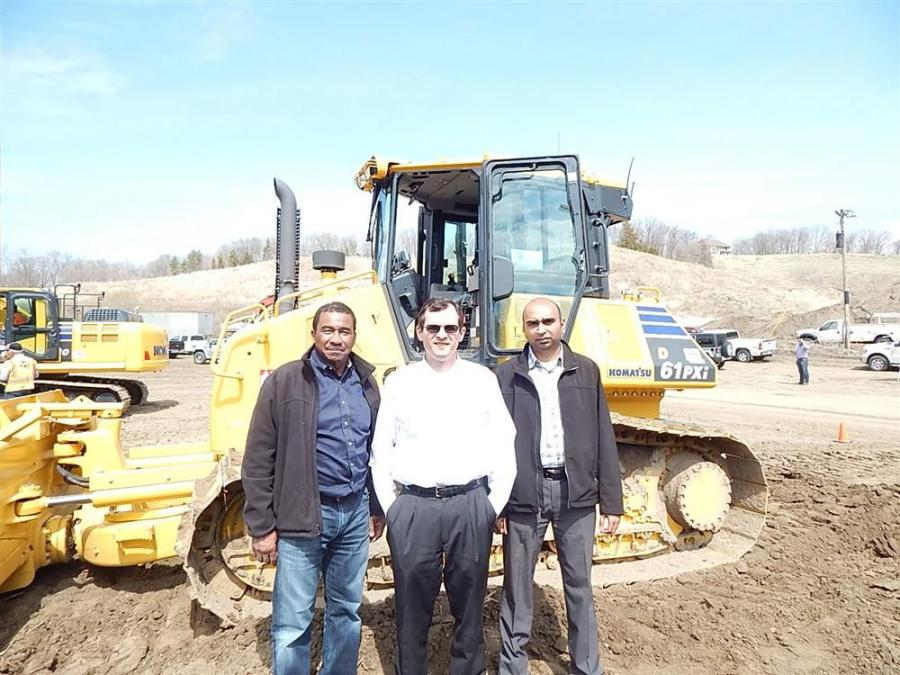 (L-R): Jenkins Davis, director of major accounts, Komatsu America Corp; RMS President Mike Sill and Product Representative Shreyas Patel, get together at the demo day.