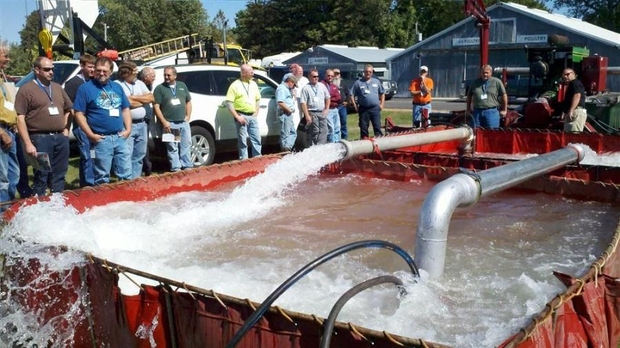 Hydro Engineering demonstrates hydraulic pumps during MRWA's expo event.