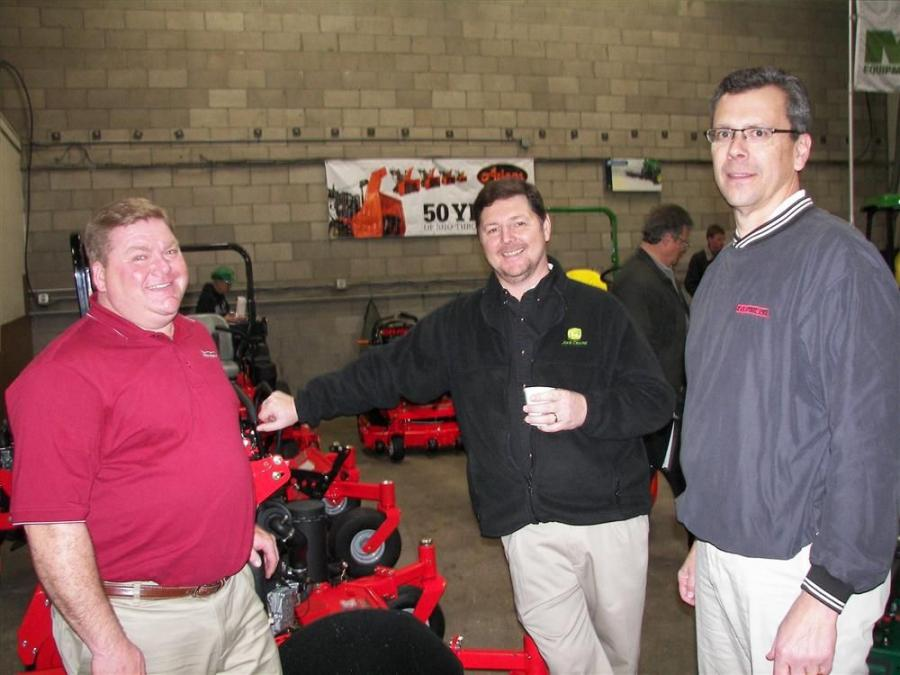(L-R): Dale Shequen of Ariens Company, Mike Bell of Suburban Lawn Center and Gravely Product Representative Martin Raecker spend some time discussing the Gravely Pro-Stance 48 in. mower system.