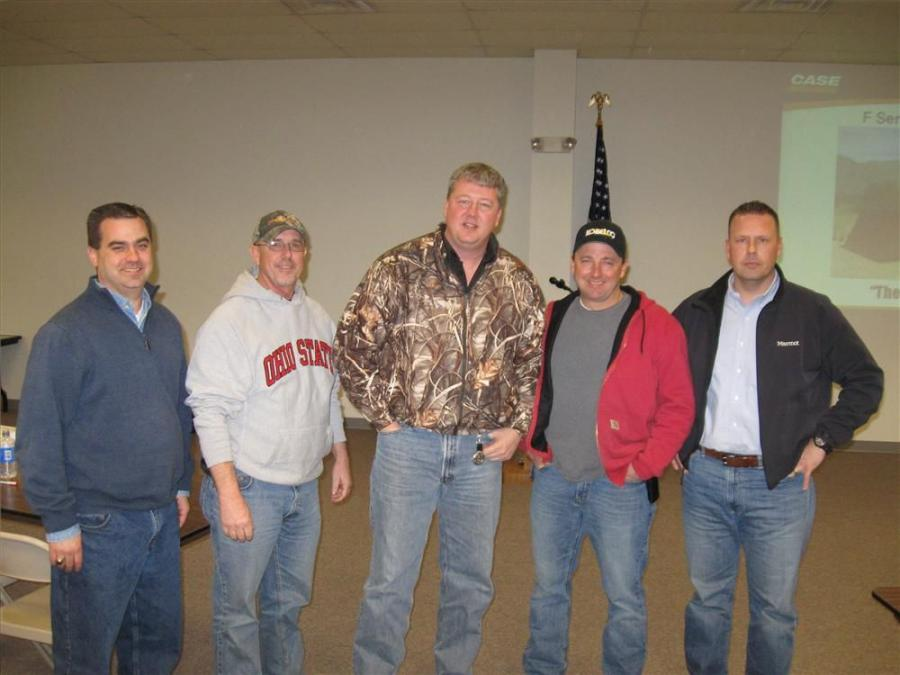 (L-R): Adam West of Southeastern Equipment joins Gary Hogue, Doug Davis, Rick Alexander of Muskingham County along with Heath Watton of Southeastern Equipment at the open house.