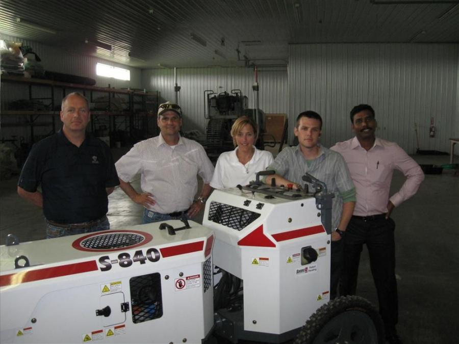 (L-R): Somero Enterprises Executive Vice President Howard Hohmann joins Unlimited Concrete Solutions' James Chaney; Somero Job Site Manager Justin Chaney; Marketing Coordinator Marci Markwart; and Somero District Sales Manager for India, Baskaran Ba