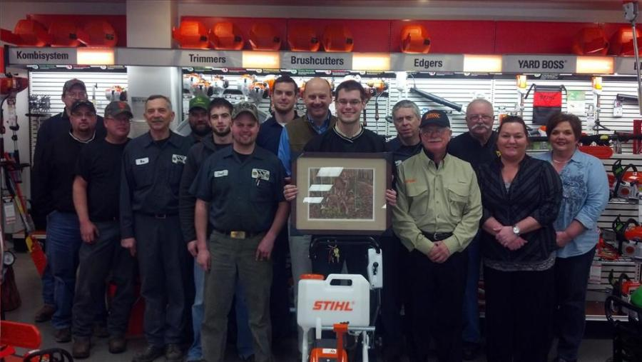 The West Side team accepts the STIHL's Regional Dealer of the Year Award on Feb. 22.