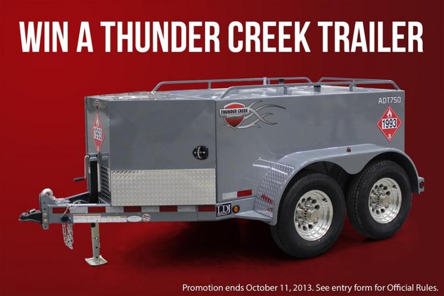 Thunder Creek Equipment is giving away one of its 750 gal. (2,839 L) standard fuel trailer, model ADT750.