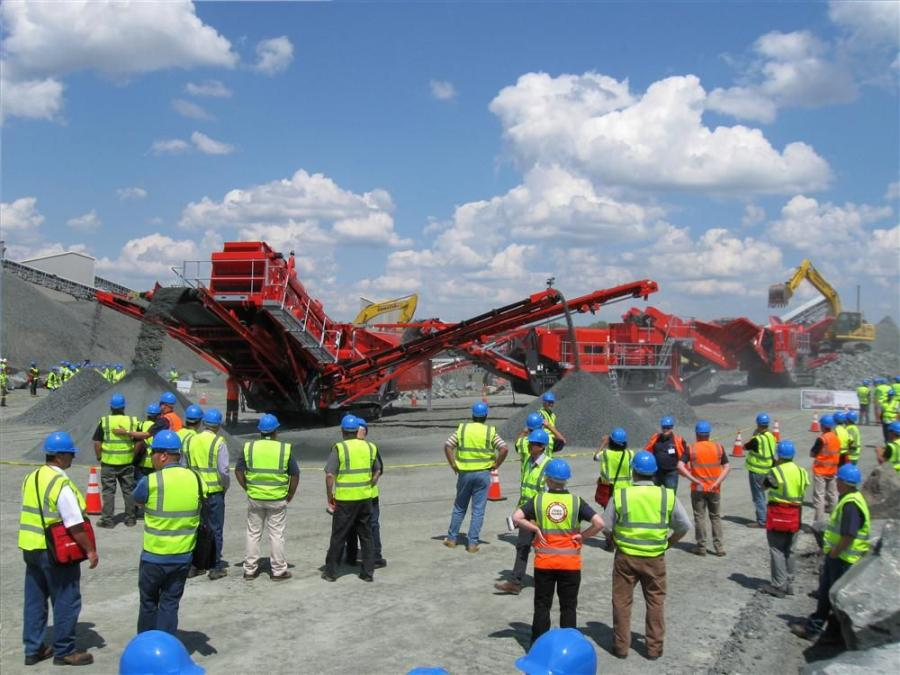 Guests gather at the Savage Stone quarry to watch the Terex Finlay aggregate machines in action.