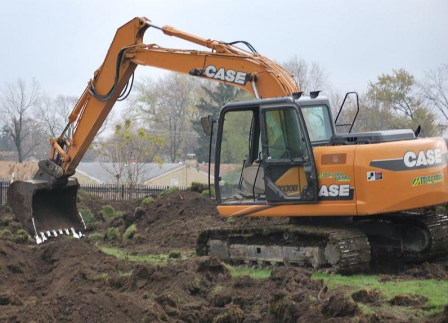 McCann Industries donated the use of a Case CX130B excavator, Case skid steer loader, and a Case SV208 roller.