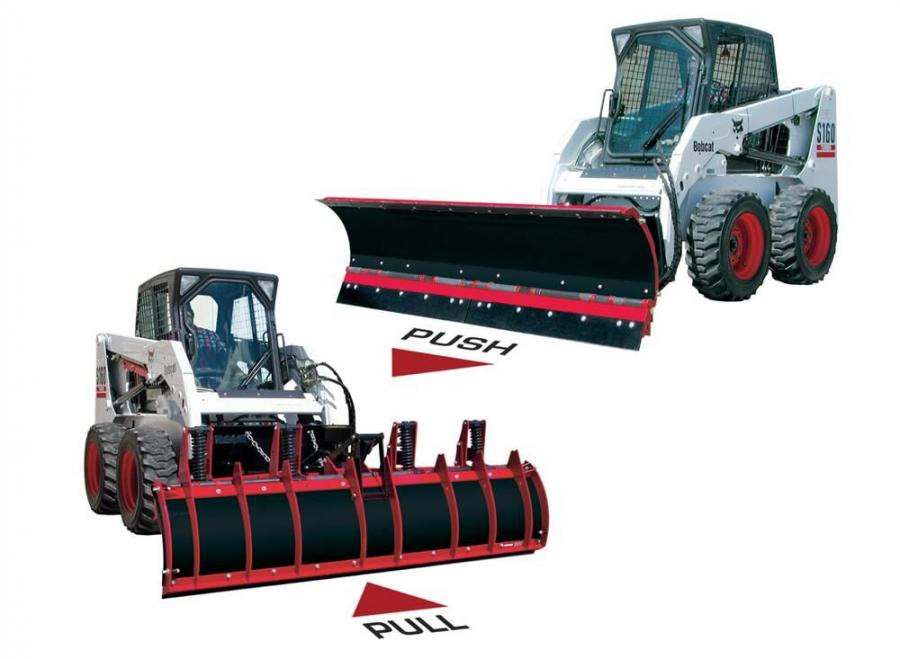 Big Ox skid steer plows include conventional style snowplows, C-Plows, V-Plows and Scoop plows.
