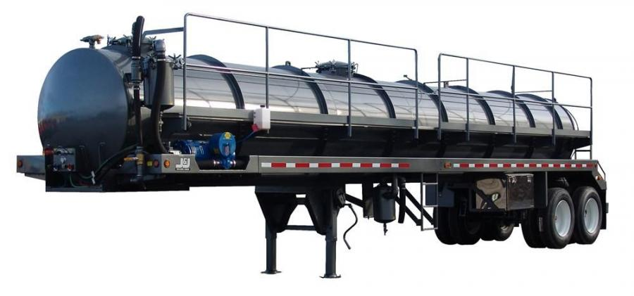 The J&J DynaHauler PVT 130 BBL tank trailer.