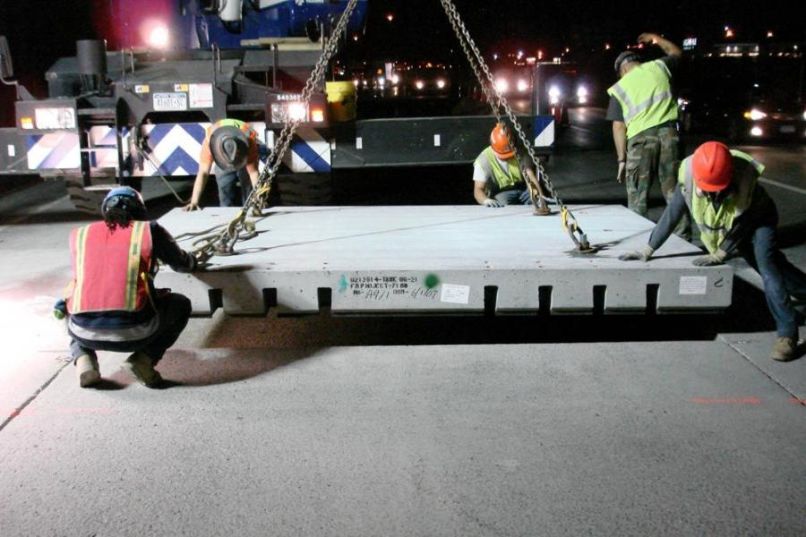 Super-Slab will be placed on I-15 at night, similar to this I-95 project in New Rochelle, N.Y.