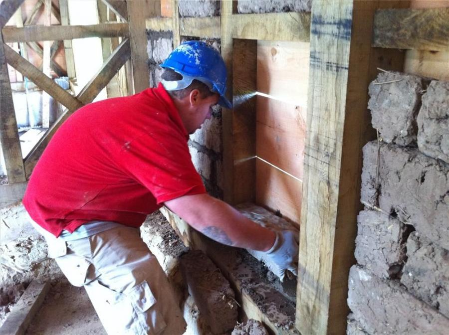 Materials for the job, including lime mortar and plaster, were created or mixed by hand.