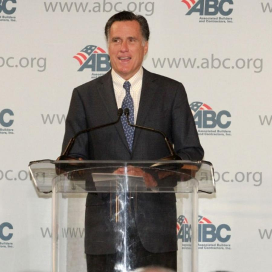 Mitt Romney addresses Associated Builders and Contractors (ABC) at its national board of directors meeting in Phoenix. (PRNewsFoto/Associated Builders & Contractors Inc.)