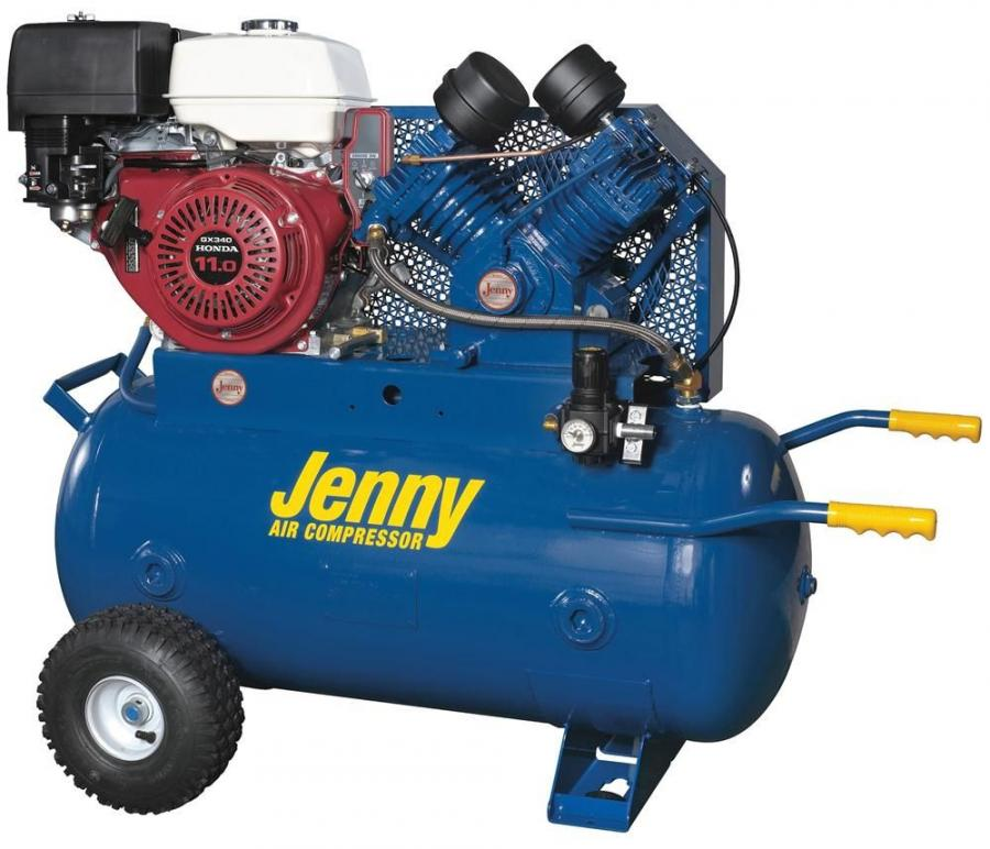 """The J11HGA-30P includes a 30-gal. (113 L) air tank and features a belt driven """"J"""" pump, which is a single-stage, four-cylinder pump with a high compression ratio for producing maximum air flow."""