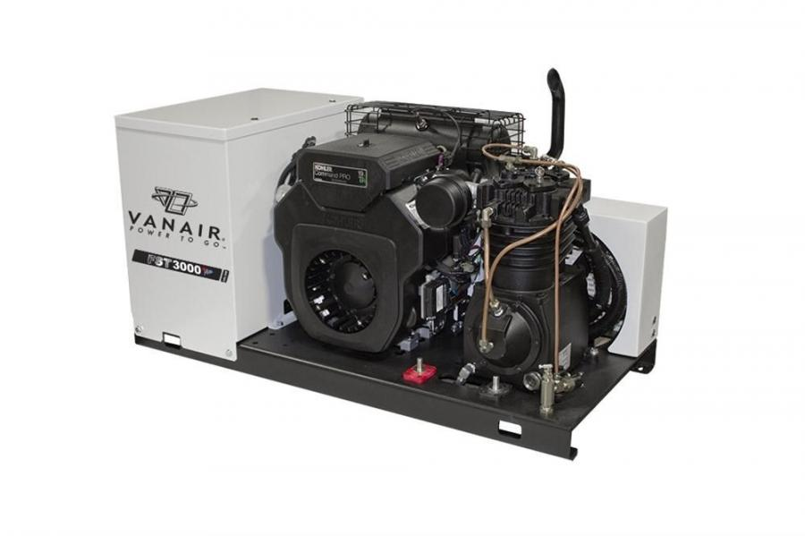 The FST3000+ Air with fast start technology features the Vanair super capacitor, or VSC, a 240 amp alternator, a gas fuel injected Kohler engine and up to a 24 cfm (at up to 175 psi) reciprocating two stage air compressor, enabling the operator to use a v