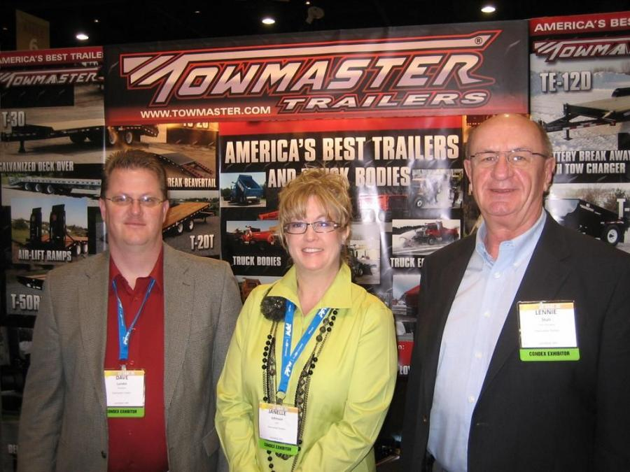 aIn it for the long haul, Towmaster trailers has been supporting AED and CONDEX for many years. (L-R) are Dave Lundin, CFO Janelle Johnson and Lennie Stulc.
