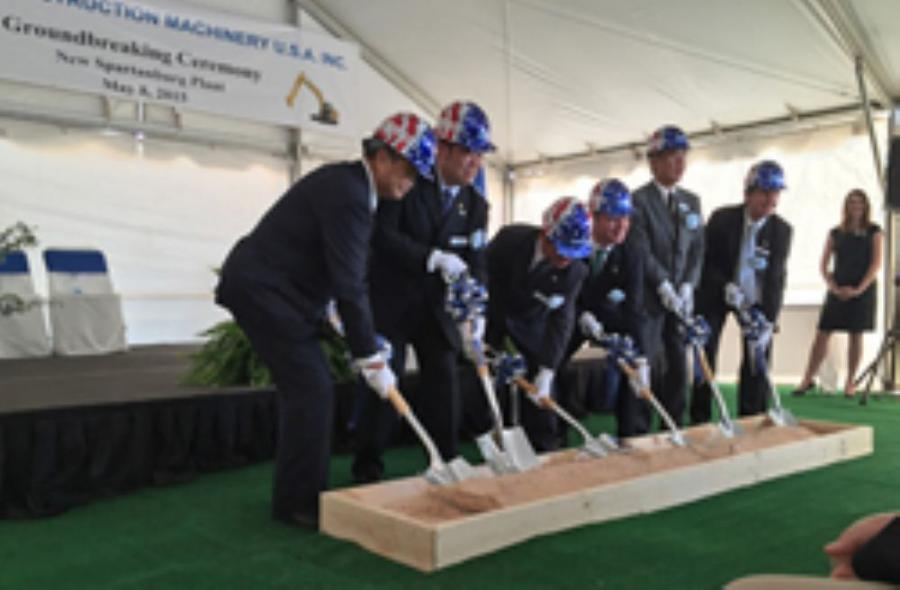 Kobelco officials take part in a ceremonial ground-breaking for the company's new facility in Spartanburg, South Carolina.