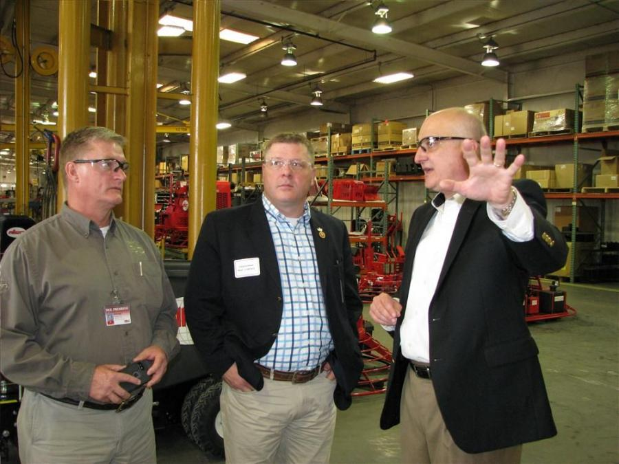 Scott Sugg (L) and Jay Allen (R) provide a personal tour of the Allen Engineering manufacturing plant in Paragould, Ark., for one of their special guests, U.S. Congressman Rick Crawford of Arkansas's First District.