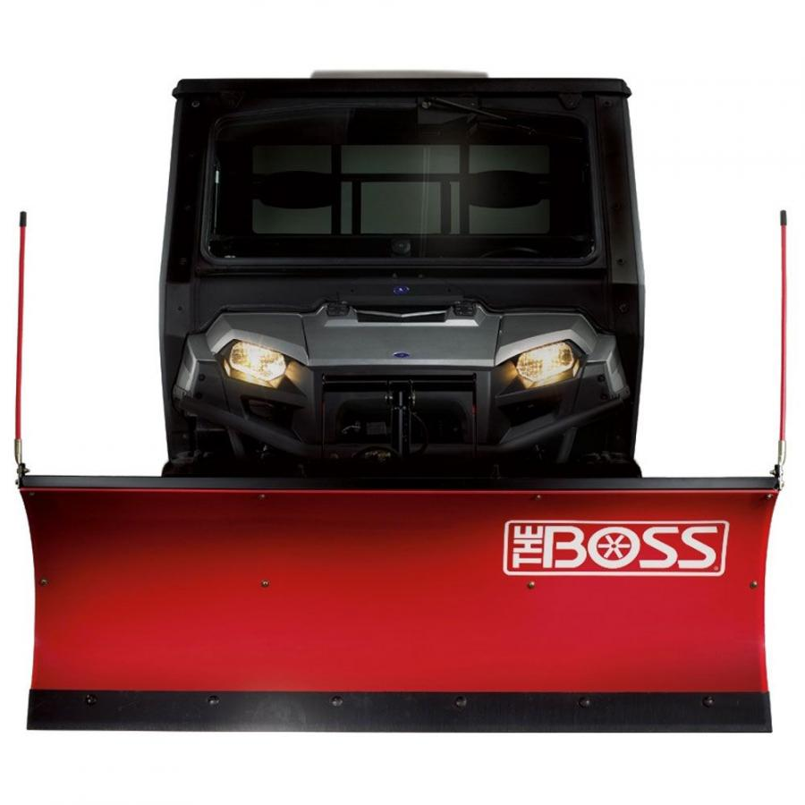 The BOSS UTV plows are available in two models, the 6 ft. 6 in. (2 m) Power-V XT and the 6 ft. (1.8 m) Poly Straight-Blade Snowplow.