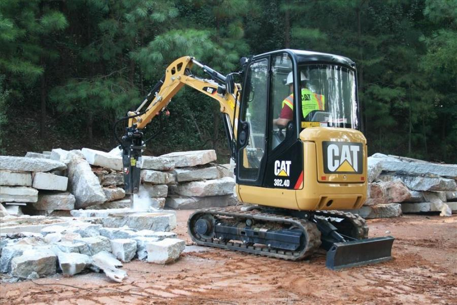 """Ten new Cat E-Series hammers — designed for use with mini-excavators, skid steer loaders and backhoe loaders — are available in both """"silenced"""" and side-plate versions."""