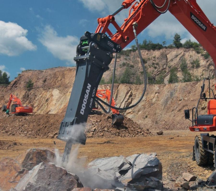 Delivering up to 750 blows per minute, the 2,061-lb. (935 kg) DXB100H is designed for use with excavators in the popular 11 to 16.5 ton (10 to 15 t) weight range, specifically the Doosan DX140LC and DX140LCR.