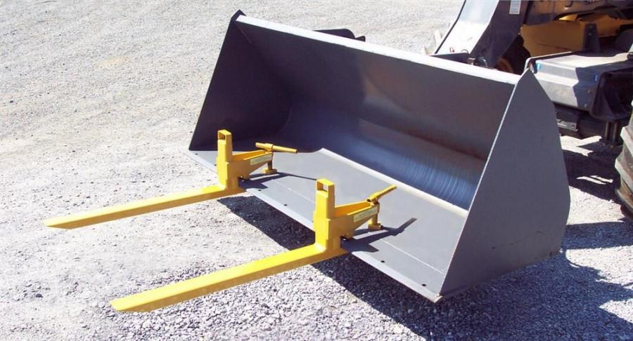Earth & Turf clamp-on bucket forks fit a wide variety of machine and bucket sizes.