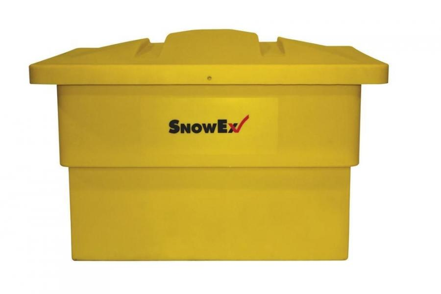 Constructed from water-resistant, noncorrosive polyethylene, Snow-Ex's SB-1000 salt box has a storage capacity of 10 cu. ft. (.28 cu m).
