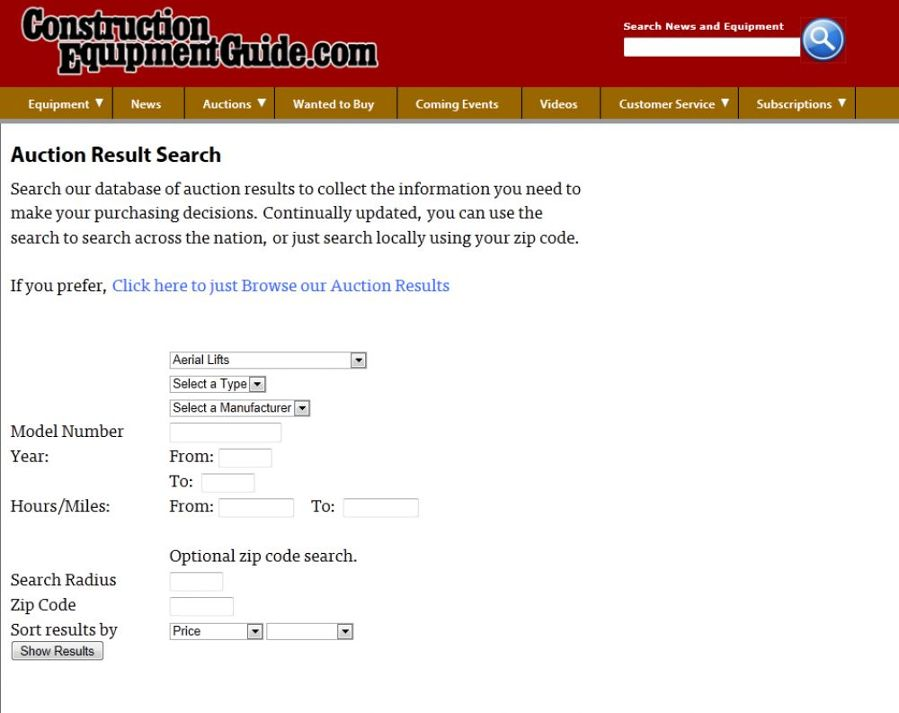 The Auction Results Page will allow users to refine their search for equipment based on a variety of criteria.