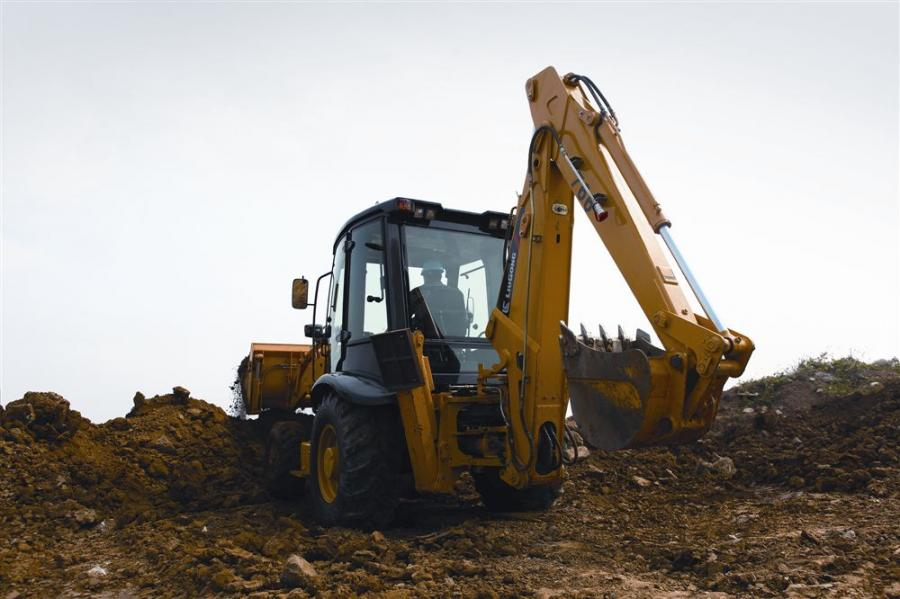 The 766A backhoe's loading height is 11 ft. 6 in. (3.5 m) and comes equipped with a 24-in. (61 cm) wide, .27 cu. yd. (.2 cu m) bucket.