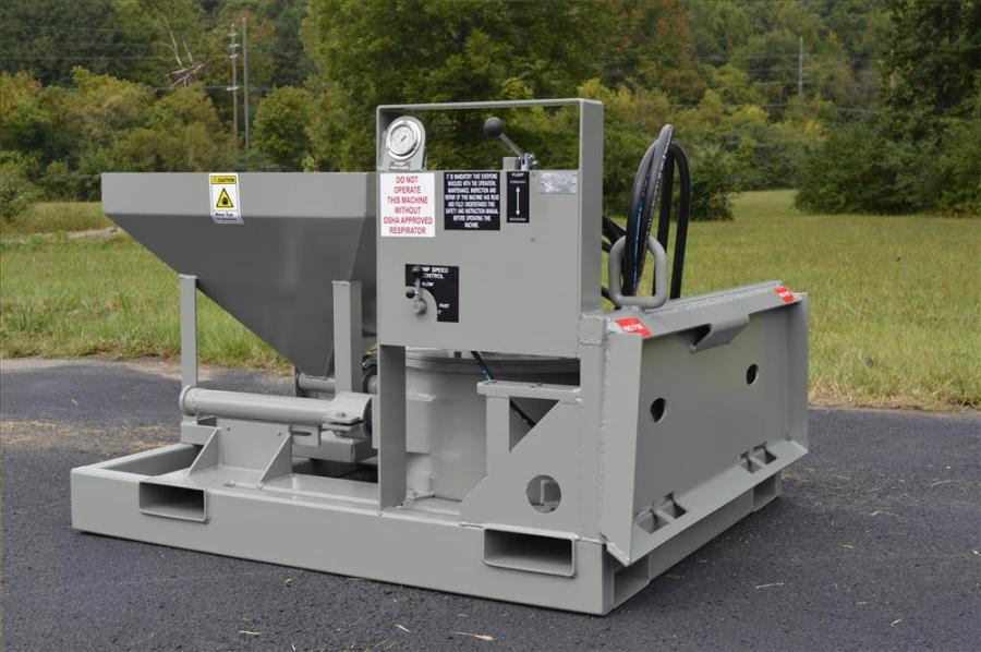 Blastcrete's D3522 attachment can pump hot epoxy or cementitious grouts at variable speeds from 0 to 6 cu. yds. (0 to 4.6 cu m) per hour and deliver up to 400 psi of pumping pressure.