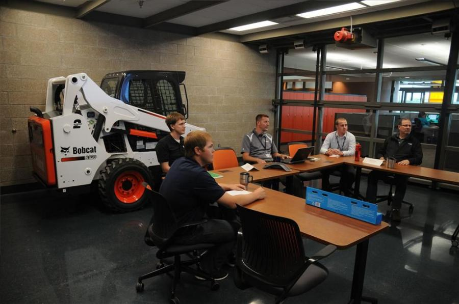 Bobcat Company employees meet in one of the Acceleration Center's team rooms.