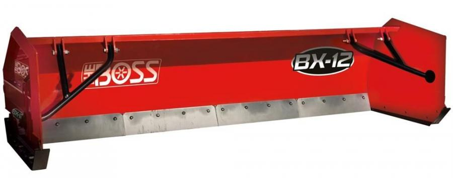 The Boss snowplow box plow — BX-12 easily attaches to a loader or backhoe with an easy-to-use quickhitch system.