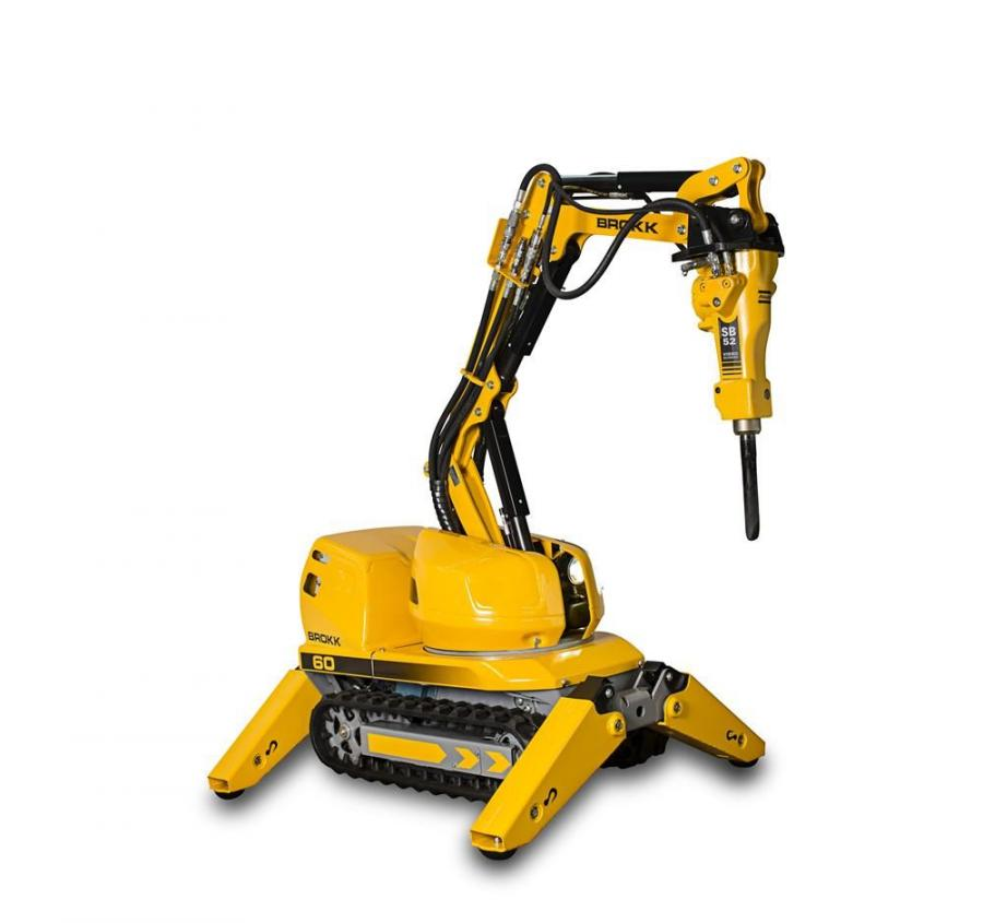 At a height of just 34.4 in. (87 cm), 2.75 in. (7 cm) lower than its predecessor, the Brokk 60 is the smallest remote-controlled demolition machine.