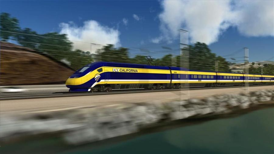 An artist's rendering of bullet train that will link Northern and Southern California.