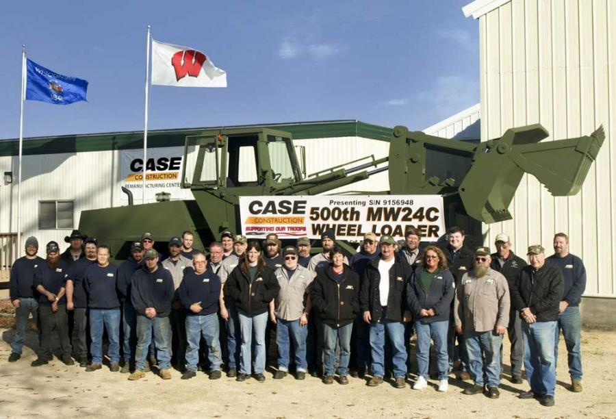 Case remanufactures and resets equipment for the military, like the Case MW24C wheel loader, at the Case Remanufacturing Center, located at Fort McCoy in western Wisconsin. Case employs a local workforce, including many current or retired Army National Gu
