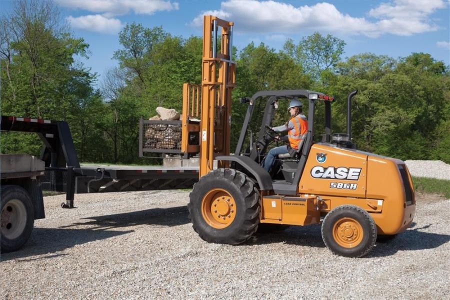 The new Case 586H and 588H rough terrain forklifts offer enhanced fuel economy and productivity along with increased lift speed and high-performance lift capacities.