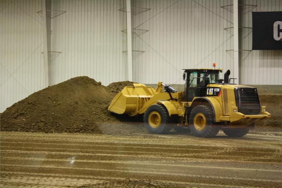 The 972M wheel loader was just one piece of equipment on display at the Cat press event in Peoria, Ill.  The wheel loader was put through its paces in the spacious demo area at Caterpillar's Edwards Demonstration and learning center.