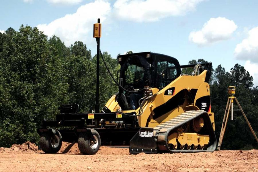 The Cat 299C compact track loader with AccuGrade grade control system.
