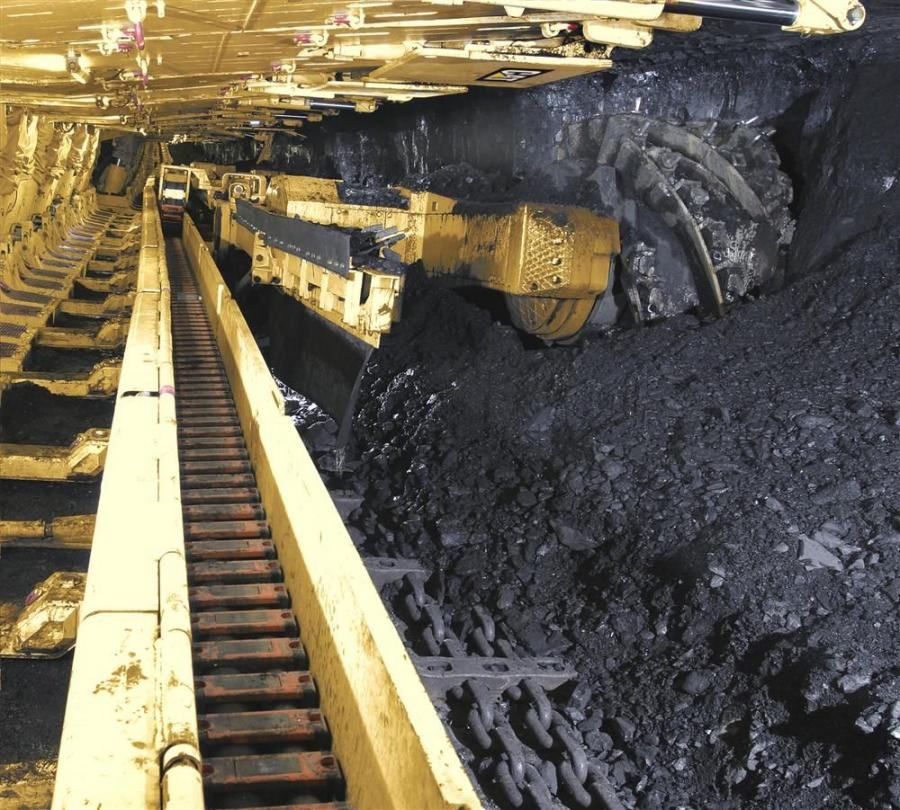 Cat EL3000 longwall shearer in a coal mine.