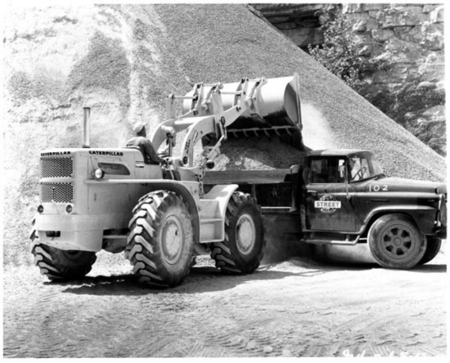 In December of 1959, the first production Cat wheel loader was driven off the assembly line at the Caterpillar plant in Aurora, Ill. — the 944 wheel traxcavator.
