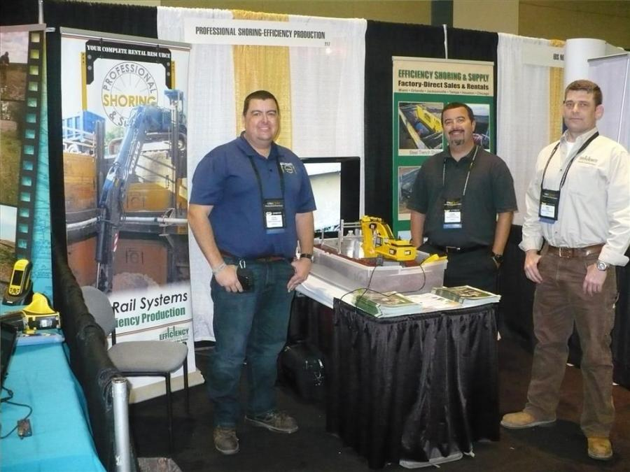 (L-R): Kevin Chandler, Frank Gonzalez and Mike Ross man the booth for Efficiency Shoring & Supply and Professional Shoring.