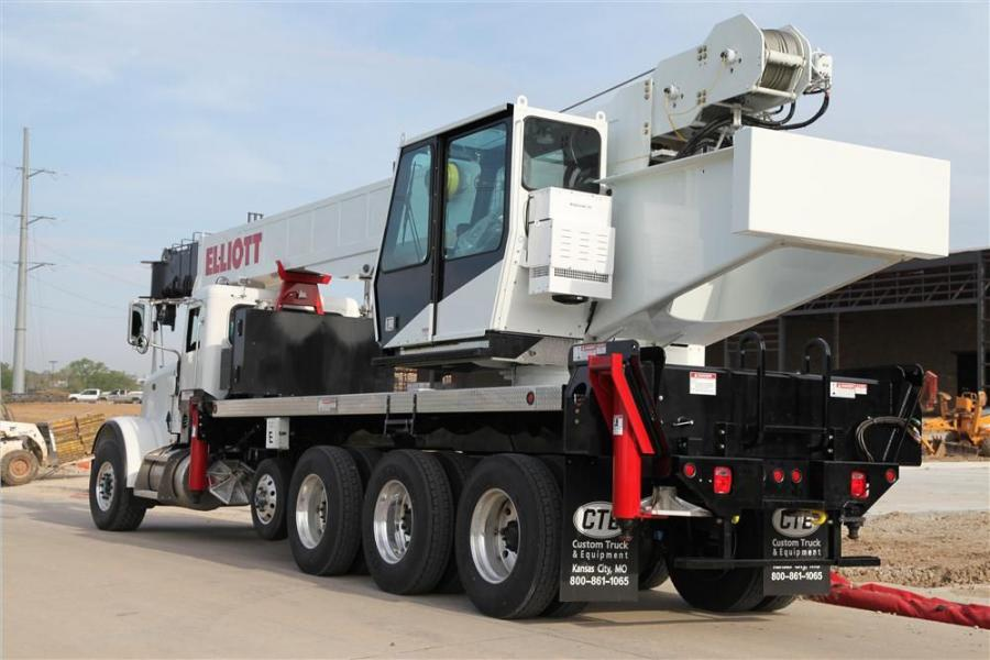 The new 45142 boomtruck model is designed to mount on a five-axle chassis with a total overall weight of approximately 65,800 lbs. (29,846 kg) including a 32 to 55 ft. (9.7 to 16.7 m) two-section telescopic jib and a detachable two-man work platform.