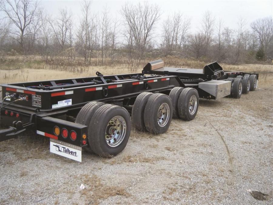 Originally developed for use with Talbert's double schnabel to haul wind energy components such as tower bases, sections and blades, the 6-axle steer dolly can now be used as a stand-alone product for alternate trailer configurations.
