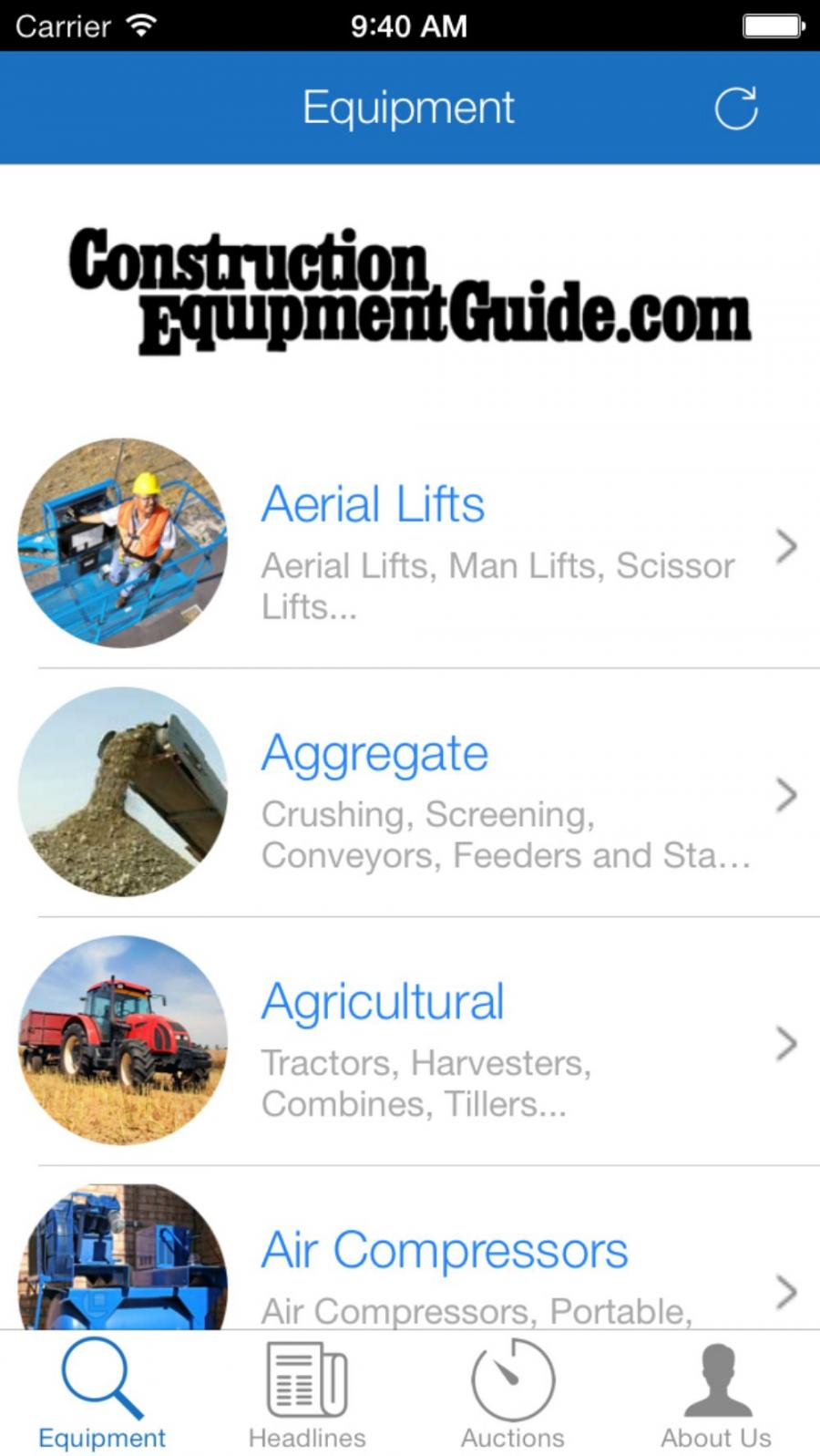 The new Construction Equipment Guide app will be available soon for download through iTunes and through the Google Play Store.