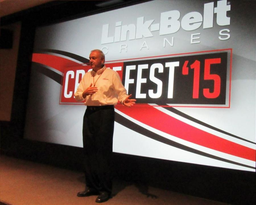 Chuck Martz, Link-Belt's CEO and president, welcomes attendees to CraneFest 2015.